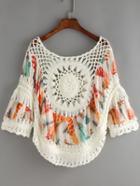 Romwe Crochet Insert Hollow Out Print Blouse