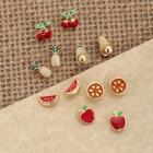 Romwe Six Pairs Of Fruit Stud Back Earrings