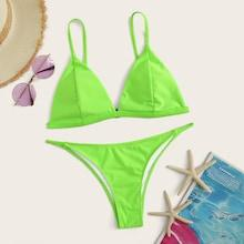 Romwe Neon Lime Triangle Top With String Bikini Set