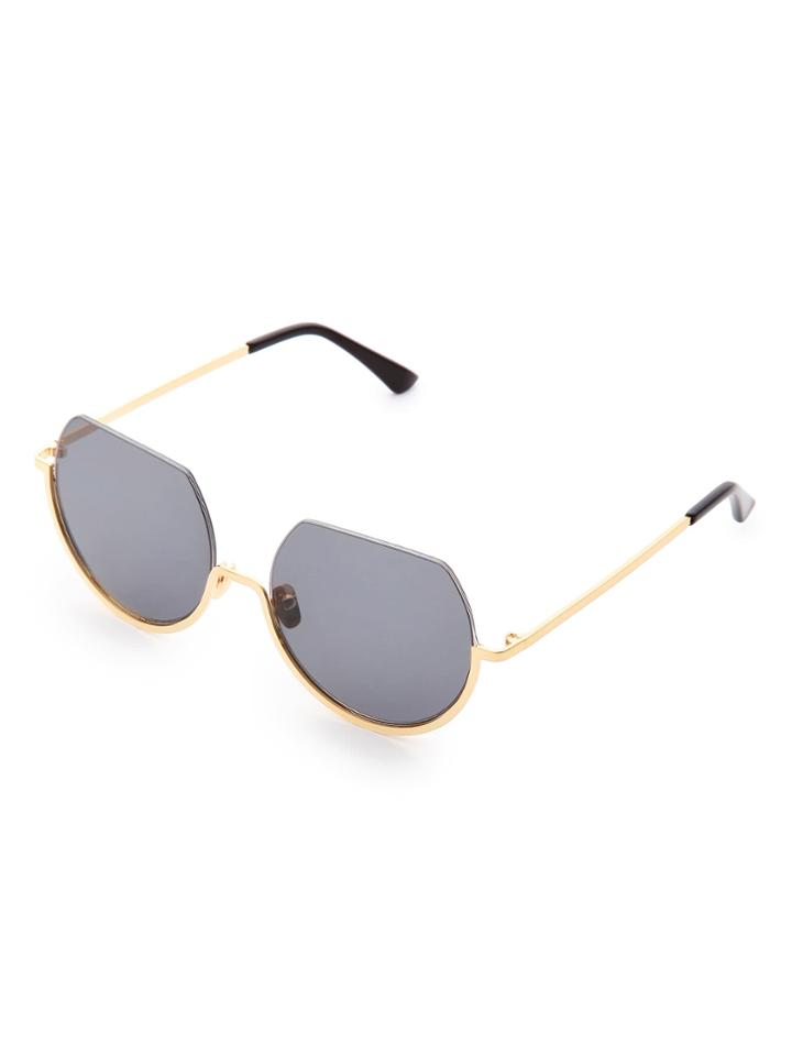 Romwe Flat Top Metal Frame Round Sunglasses