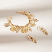 Romwe Shell & Pearl Charm Bracelet & Drop Earrings 3pcs