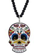 Romwe Beads Chain Long Colorful Skull Pendant Necklace
