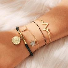 Romwe Coin & Star Charm Bracelet Set 4pcs