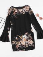 Romwe Fluted Sleeve Floral Print Zip Back Mini Dress