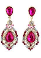 Romwe Red Drop Gemstone Gold Hollow Earrings