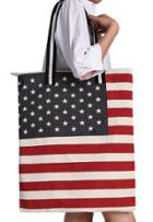 Romwe American Flag Print Canvas Shoulder Bag