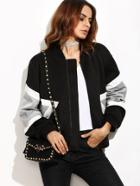 Romwe Contrast Panel Zip Up Bomber Jacket