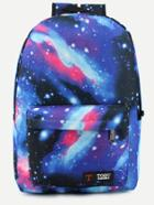 Romwe Blue Galaxy Print Canvas Backpack
