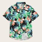 Romwe Guys Button Up Botanical Print Shirt