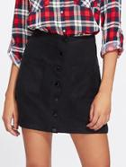 Romwe Patch Pocket Front Button Up Skirt