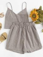 Romwe Checked Cami Top With Shorts