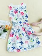 Romwe Floral Print Zip Back Box Pleat Flare Dress