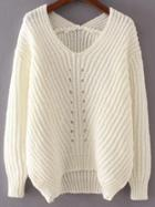 Romwe White V Neck High Low Sweater