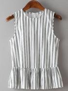 Romwe Vertical Striped Sleeveless Peplum Top