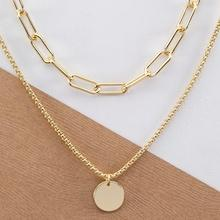 Romwe Chain Link Double Layer Circle Pendant Necklace