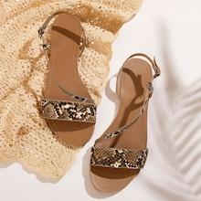 Romwe Snakeskin Print Open Toe Sandals