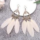 Romwe Feather Tassel Hoop Drop Earrings