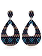 Romwe Mixed Pattern Hollow Water Drop Shaped Earrings