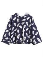 Romwe Navy Milk Bottles Print Hooded Sweatshirt