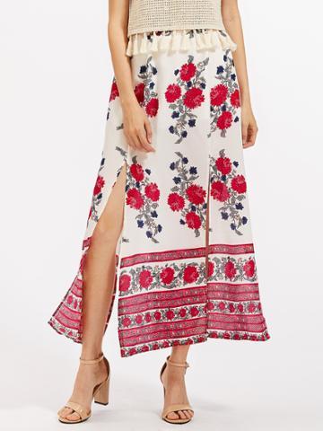 Romwe Florals Split Chiffon Skirt