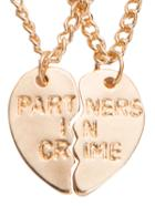 Romwe Golden Engraved Letters Heart-shaped Couple Necklace