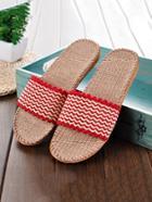 Romwe Striped Flat Linen Sliders