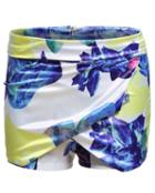 Romwe Floral Print Slim Shorts