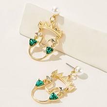 Romwe Rhinestone Decor Metal Drop Earrings 1pair