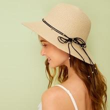 Romwe Ball & Bow Knot Decor Floppy Hat