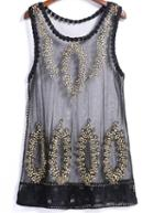 Romwe Round Neck Sheer Mesh Embroidered Vest