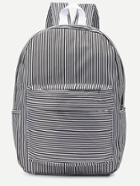Romwe Black Striped Canvas Backpack