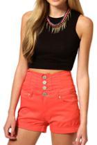 Romwe Buttoned High Waist Orange Shorts