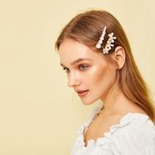 Romwe Faux Pearl Decor Hair Clip 2pcs
