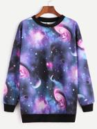 Romwe Contrast Ribbed Trim Starry Space Print Sweatshirt