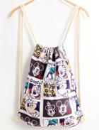 Romwe Multicolor Mickey Print Backpack