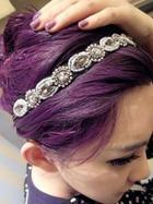 Romwe Delicate Flower Rhinestone Elastic Ribbon Hair Band
