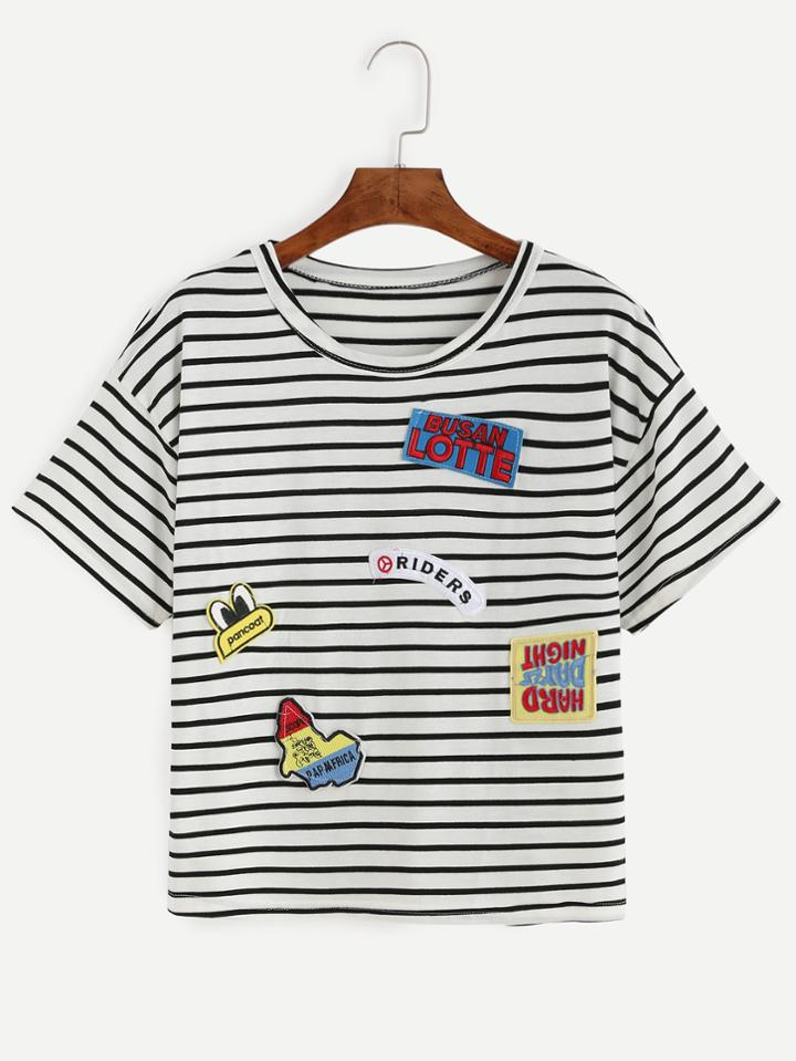 Romwe Black White Striped Embroidered Patch T-shirt