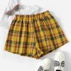 Romwe Plaid Print Elastic Waist Shorts
