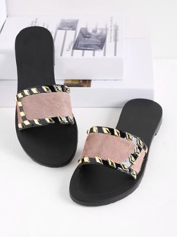 Romwe Metal Detail Faux Fur Slippers