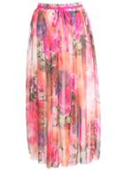 Romwe Floral Pleated Chiffon Skirt