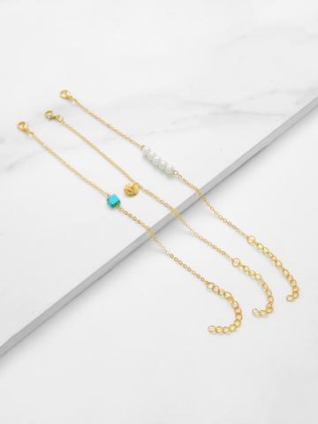 Romwe Faux Pearl Charm Chain Bracelet 3pcs