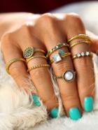 Romwe Faux Pearl & Gemstone Detail Ring Set