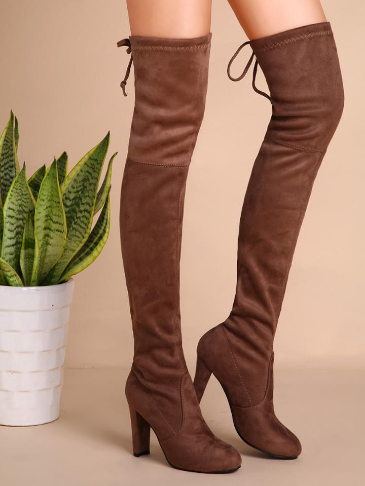 Romwe Khaki Faux Suede High Heel Thigh High Boots