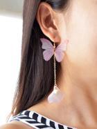 Romwe Butterfly Charm Drop Earrings