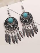 Romwe Feather Detail Statement Earrings
