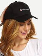 Romwe Black Letter Print Baseball Cap