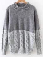 Romwe Grey Color Block Cable Knit Sweater