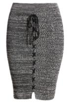 Romwe Elastic Waist Knit Black Pencil Skirt