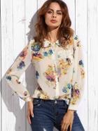Romwe White Lapel Floral Button Sheer Blouse