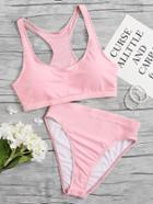 Romwe Racerback High Waist Bikini Set